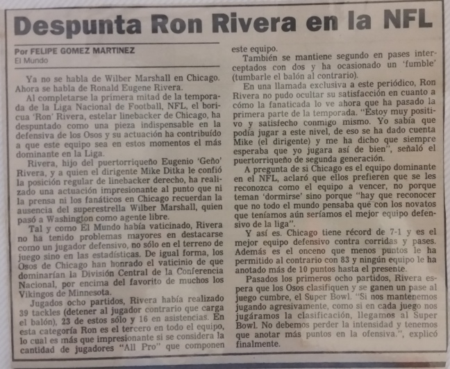 Despunta Ron Rivera en la NFL