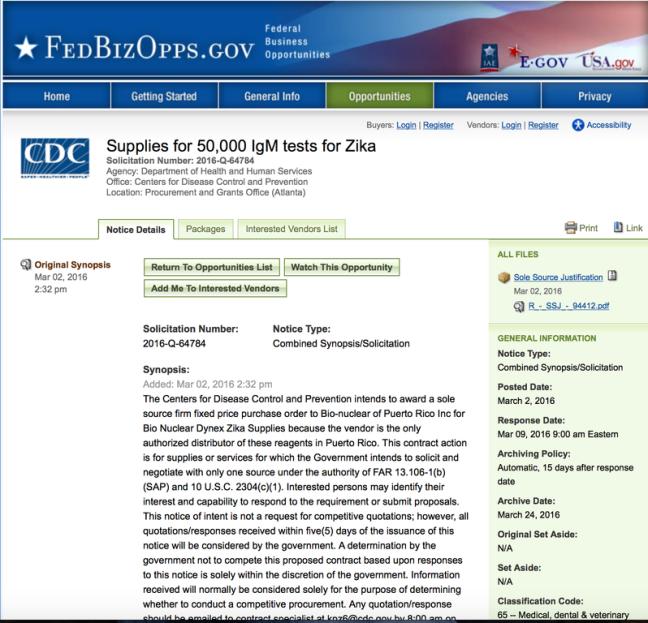 Zika CDC Pruebas PR